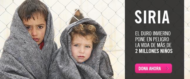 Siria: el duro invierno pone en peligro la vida de más de 2 millones de niños.¡DONA AHORA!